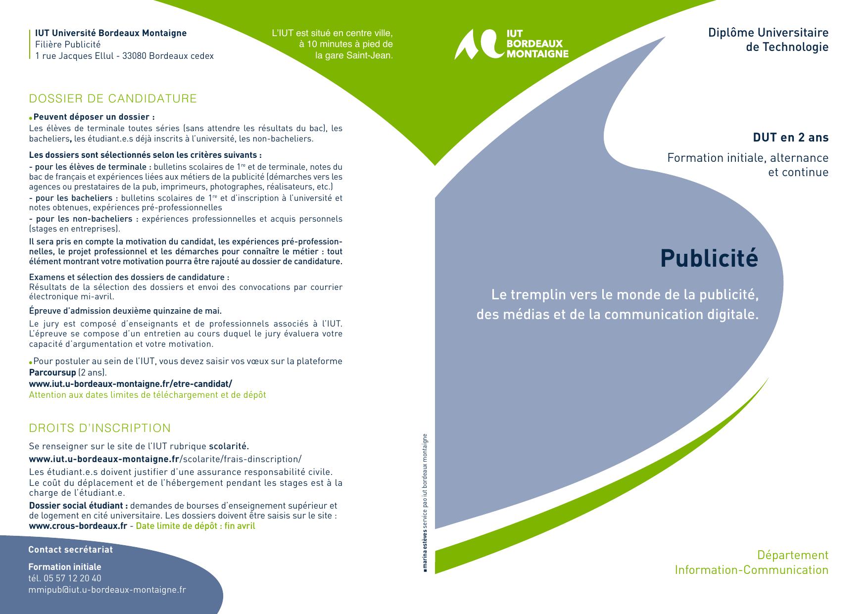Dut Publicite Universite Bordeaux Montaigne