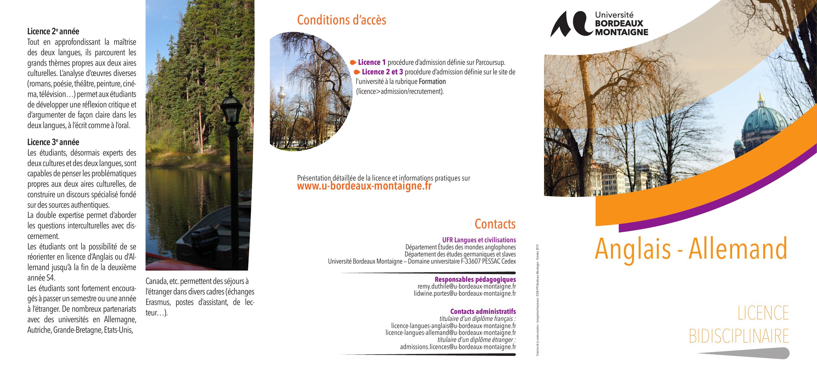 Licence anglais allemand universit bordeaux montaigne - Bureau des licences bordeaux ...